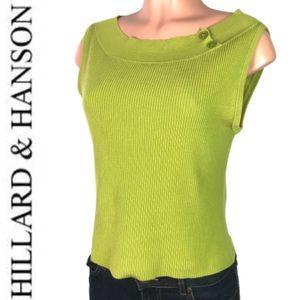 HILLARD & HANSON PEA GREEN SLEEVELESS KNIT TOP M